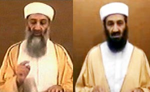 Bin Laden video in 2004, left, and bin Laden video in 2007, right.